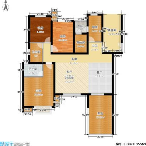 万润一品苑3室0厅2卫1厨133.00㎡户型图