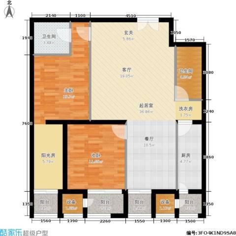 天一紫御庄园2室0厅2卫1厨127.00㎡户型图
