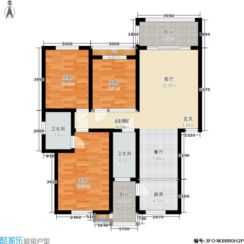 梧桐墅107.09㎡70#3A户型:3房2厅2卫户型
