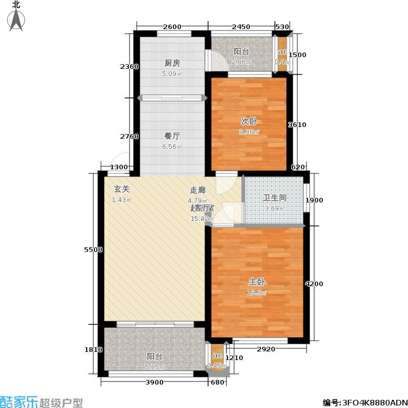 梧桐墅81.04㎡44#2G户型:两房两厅一卫户型