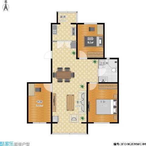 正大江南水乡3室1厅1卫1厨89.00㎡户型图