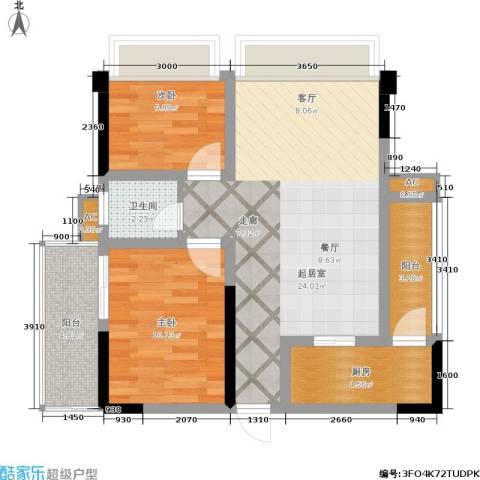 骏豪国际2室0厅1卫1厨70.00㎡户型图