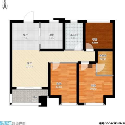 旭辉・御府3室1厅1卫1厨92.00㎡户型图