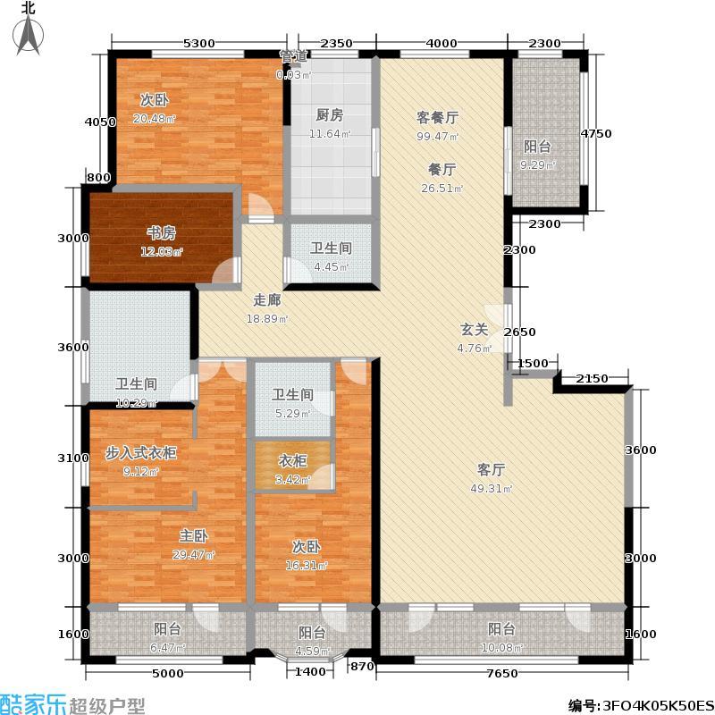 保利海德公园305.00㎡一期5#楼高层D户型
