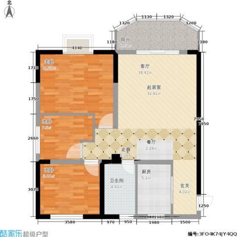 东电民福东方阁3室0厅1卫1厨113.00㎡户型图