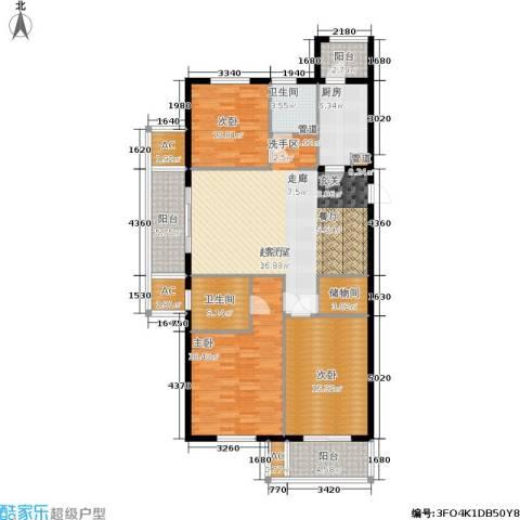 华都・金色兰庭3室0厅2卫1厨133.00㎡户型图