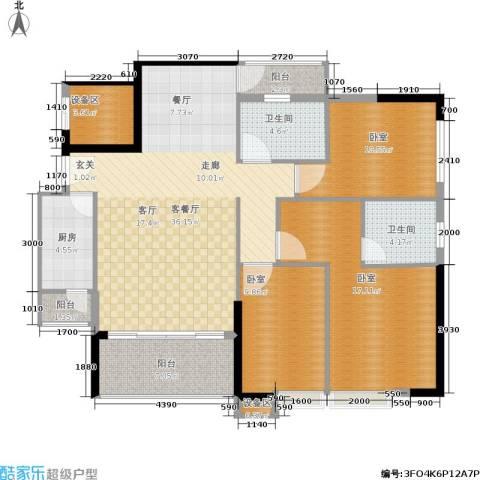 岭南雅苑1厅2卫1厨116.00㎡户型图