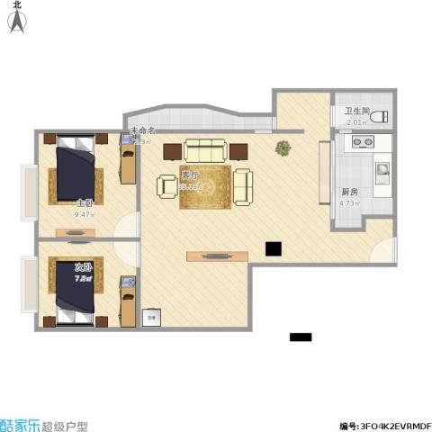 东澳广场2室1厅1卫1厨81.00㎡户型图
