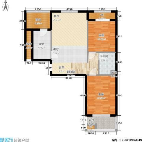华都・金色兰庭2室0厅1卫1厨88.00㎡户型图