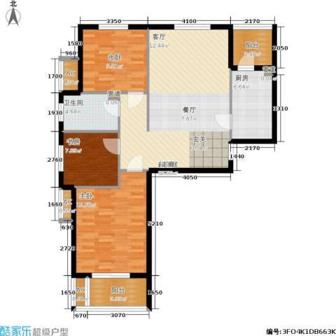 华都・金色兰庭3室0厅1卫1厨98.00㎡户型图