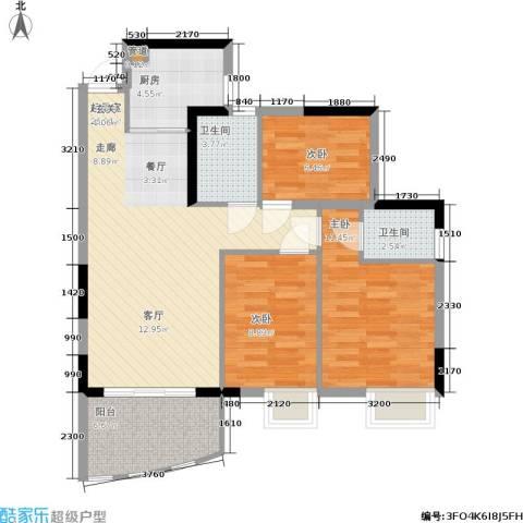 华轩桃花源3室0厅2卫1厨89.00㎡户型图