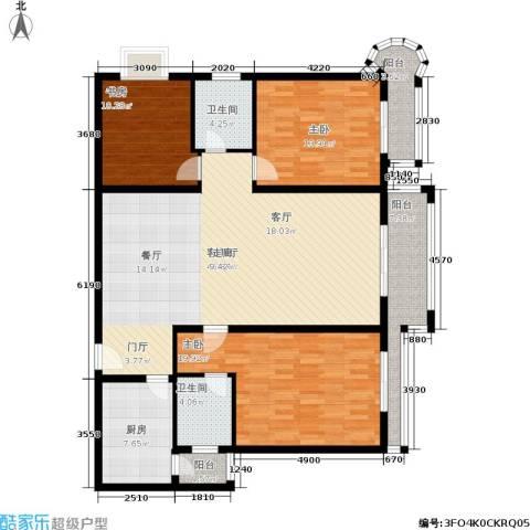 凯旋帝景3室1厅2卫1厨118.01㎡户型图