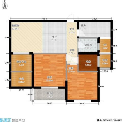 华都・金色兰庭3室0厅1卫1厨96.00㎡户型图