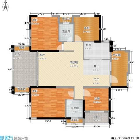 紫鑫御湖湾4室1厅2卫1厨143.00㎡户型图