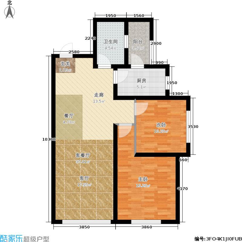 国润城87.38㎡5号楼A1-3户型2室2厅