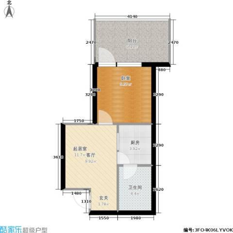 龙潭·温泉印象1卫1厨44.00㎡户型图