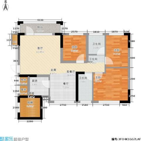 君汇熙庭3室1厅2卫1厨89.00㎡户型图