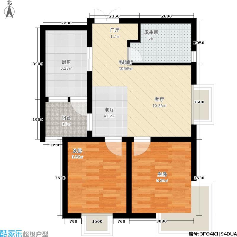 海轩梦想10074.31㎡5#1-02户型2室2厅