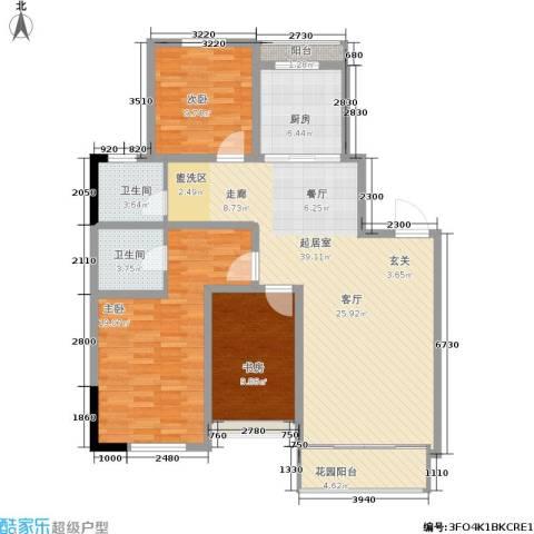 丰远・玫瑰城尚品3室0厅2卫1厨139.00㎡户型图