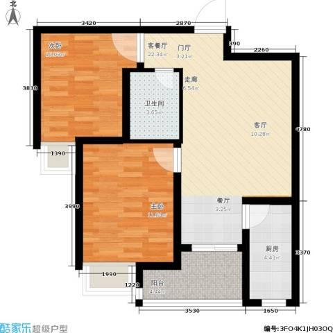 曲江・国风世家2室1厅1卫1厨77.00㎡户型图