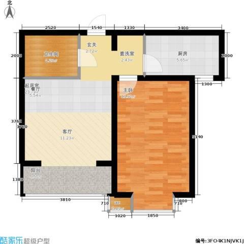 高新香江岸1室0厅1卫1厨72.00㎡户型图