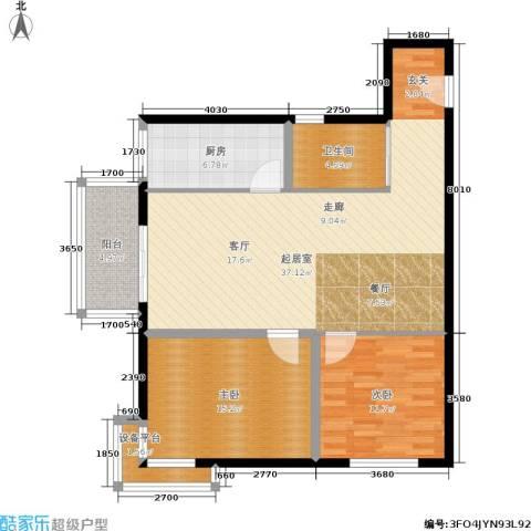圣地亚哥2室0厅1卫1厨92.00㎡户型图