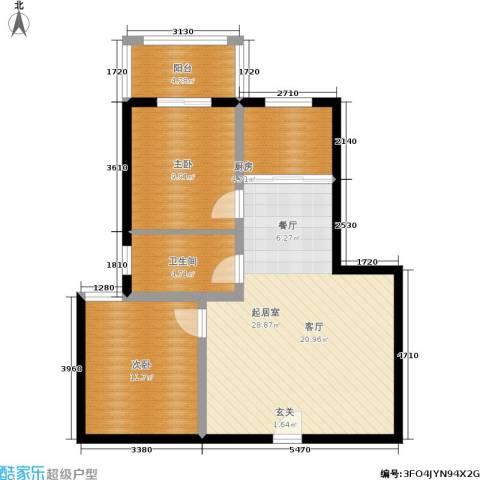 圣地亚哥2室0厅1卫1厨73.00㎡户型图