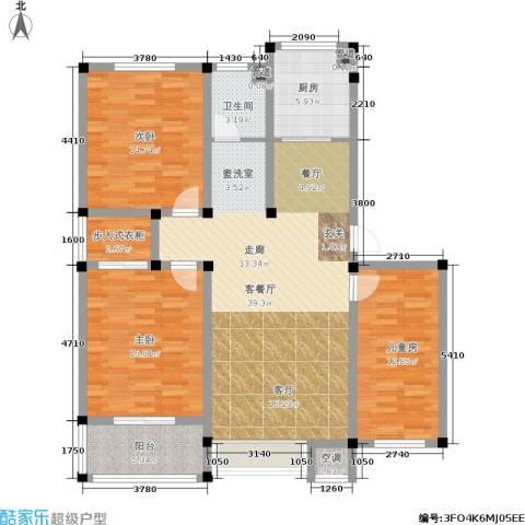 中建绿洲国际花园3室1厅1卫1厨119.00㎡户型图