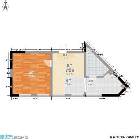 东方塞纳1室0厅1卫1厨61.00㎡户型图