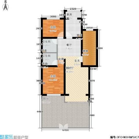 蓝调沙龙雅园2室1厅2卫1厨101.00㎡户型图