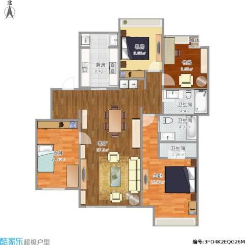 万科时一区3室1厅3卫1厨140.00㎡户型图