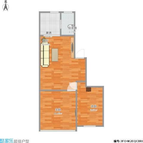 上南十二村2室1厅1卫1厨58.00㎡户型图