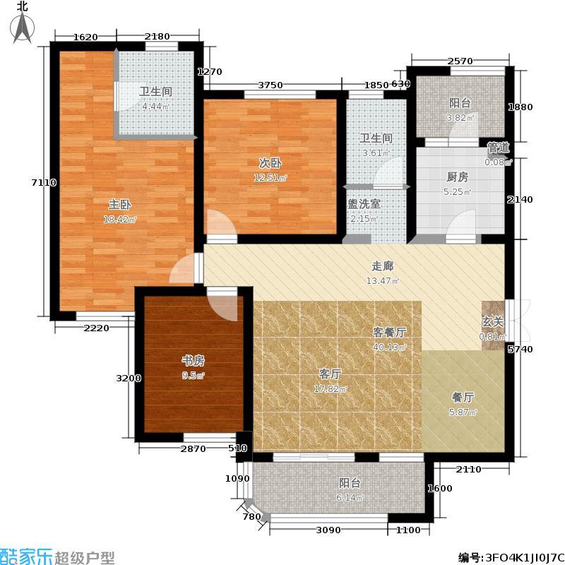国润城118.56㎡5号楼A1-1户型3室2厅
