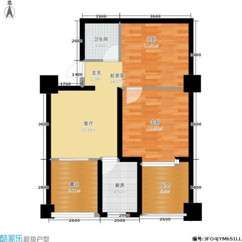 时丰姜溪花都1室0厅1卫1厨64.00㎡户型图