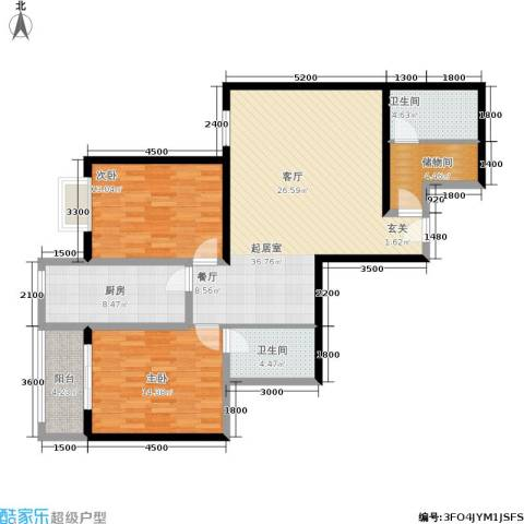 紫气东来2室0厅2卫1厨124.00㎡户型图