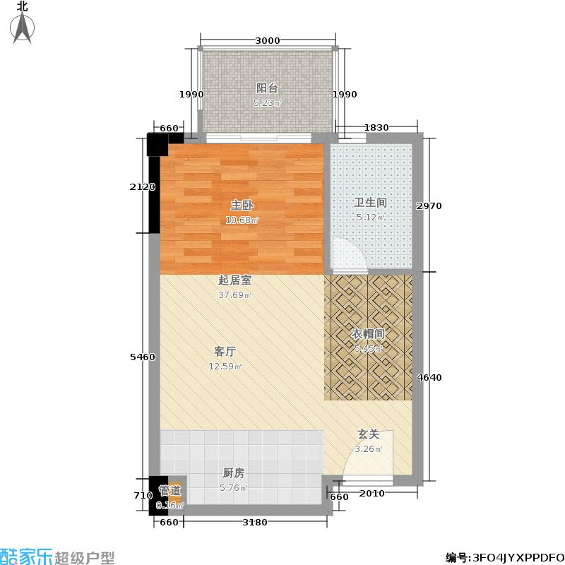 新光百德广场55.97㎡B座8层06单位户型