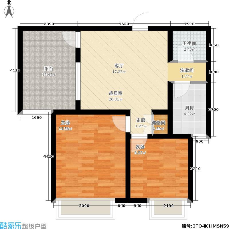 博雅盛世74.00㎡一平台74+B户型2室1厅