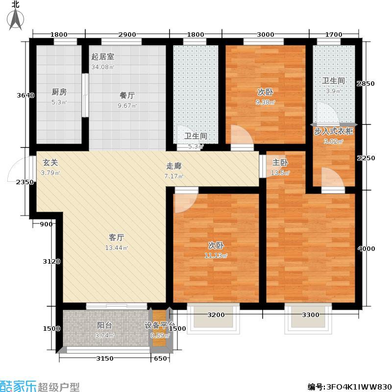 棕榈湾125.00㎡三期15#-B户型3室2厅