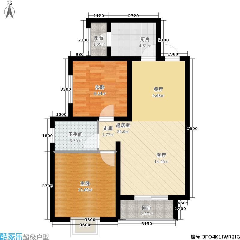 棕榈湾88.00㎡4#10#-b户型2室2厅