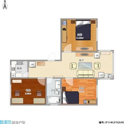 金桥花苑3室1厅1卫1厨76.00㎡户型图