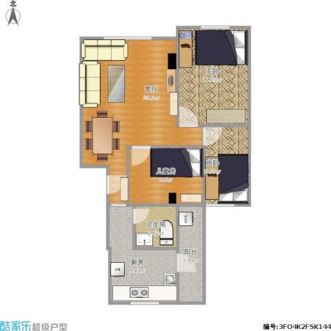 裕发楼3室1厅1卫1厨63.89㎡户型图