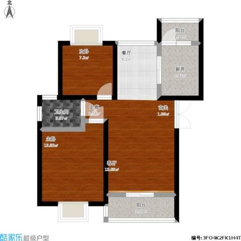中梁山水苑2室1厅1卫1厨87.00㎡户型图