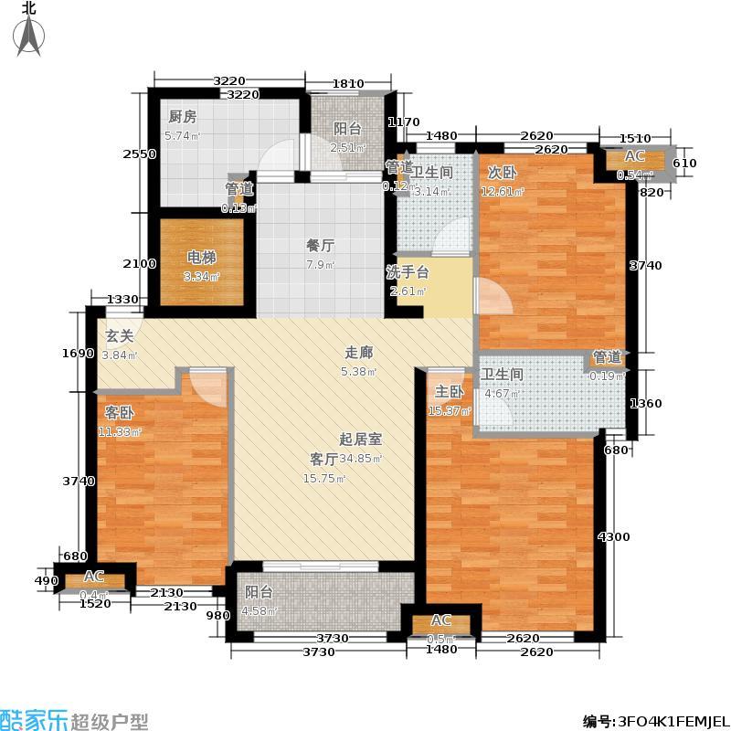 万科海上传奇113.00㎡二期小高层24#K湖色房户型