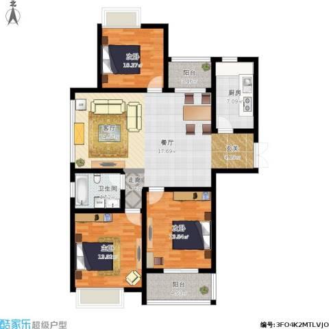天山花园3室1厅1卫1厨138.00㎡户型图