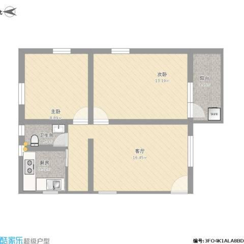 鹭江小区2室1厅1卫1厨70.00㎡户型图