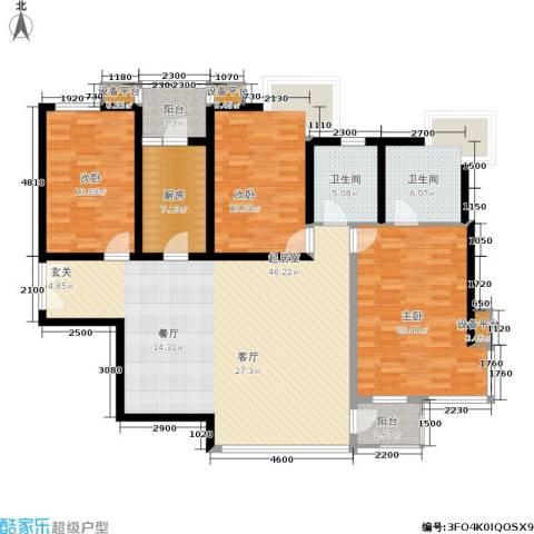 百旺茉莉园3室0厅2卫1厨168.00㎡户型图