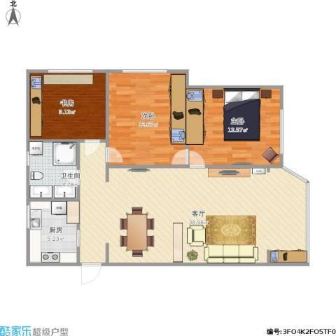 五星公寓3室1厅1卫1厨111.00㎡户型图