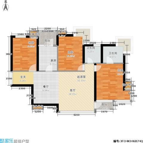 百旺茉莉园3室0厅2卫1厨118.00㎡户型图