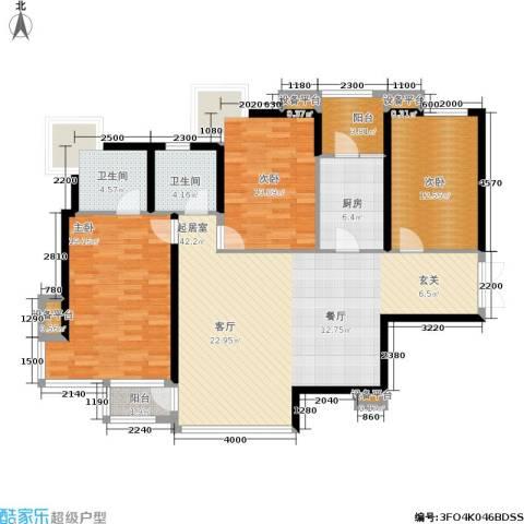 百旺茉莉园3室0厅2卫1厨155.00㎡户型图