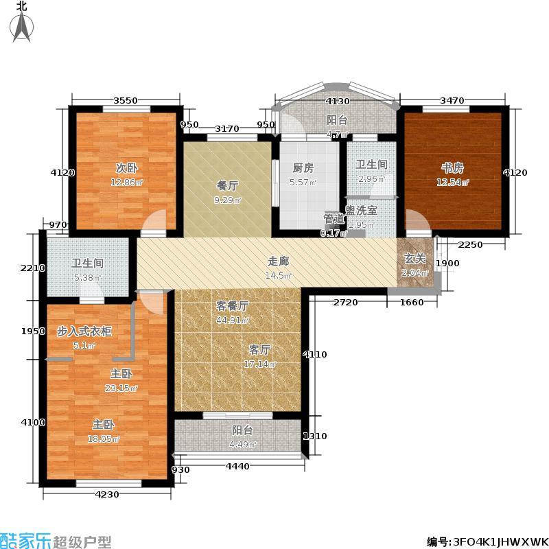 国润城133.77㎡6号楼F1-1户型3室2厅